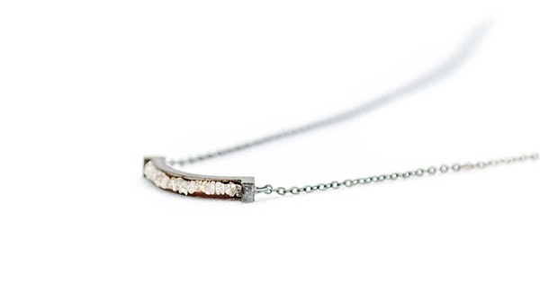 E.M. Blackened Gold and Crushed Diamond Necklace