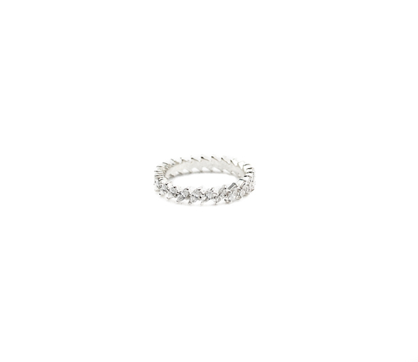 E.M. Silver Crown Eternity Band with Clear Stones