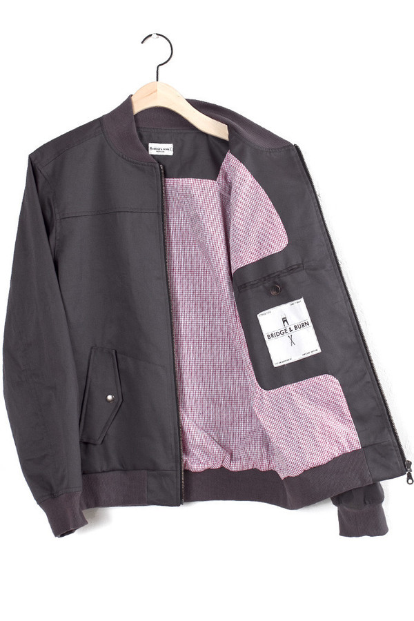 Men's Bridge & Burn Baker Charcoal Bomber Jacket