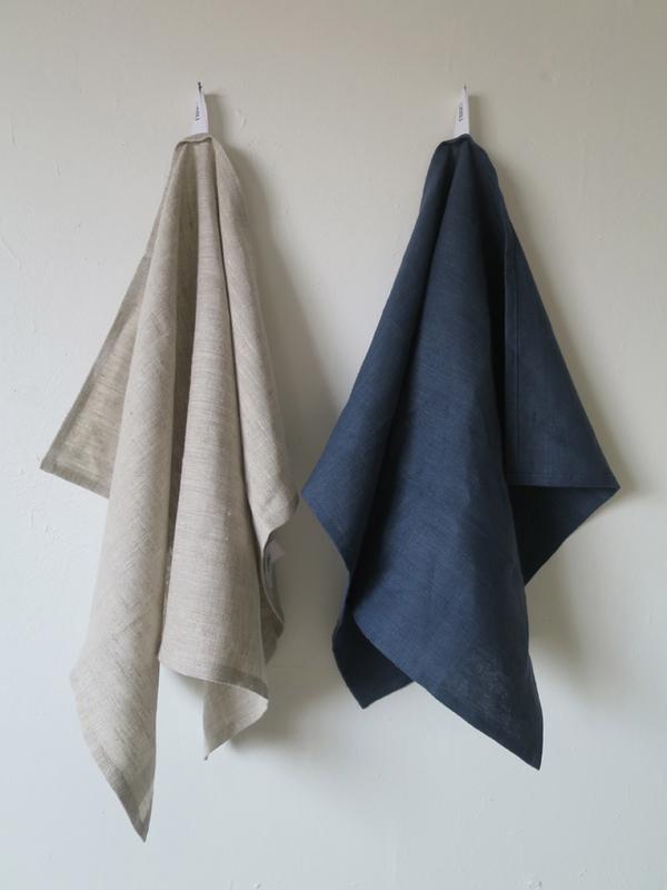 Lissu Linen Tea Towel Set - Birch + Navy