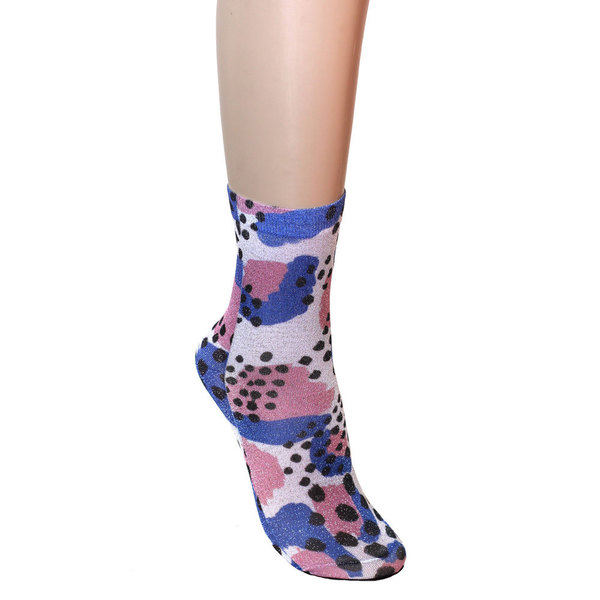 Strathcona Stockings Black, Blue + Pink Sparkle Socks