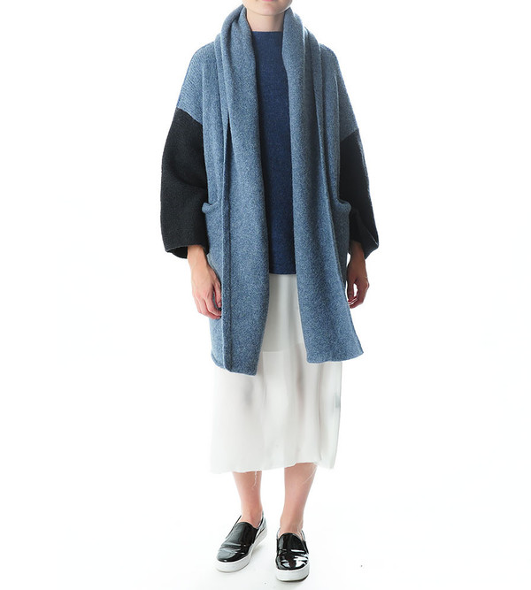 Capote Coat in Blue Colorblock