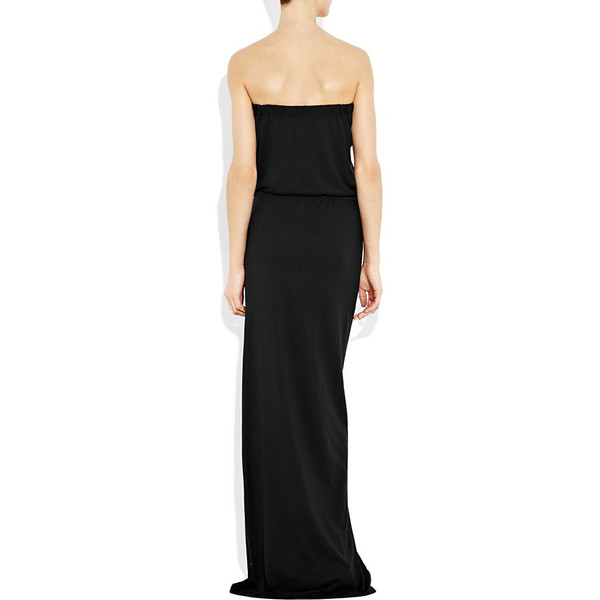 Black strapless jersey maxi dress