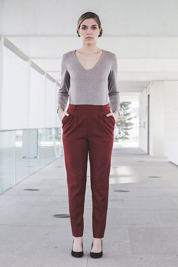 Livlov Burgundy Grey Jumpsuit