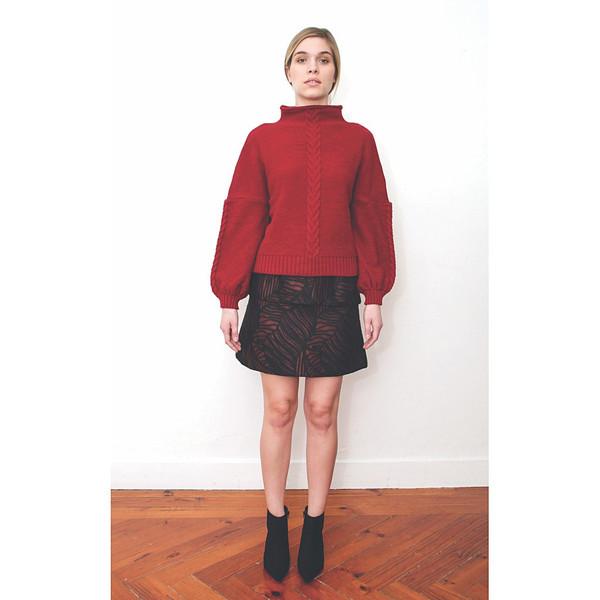 Livlov Red Leaf Print Skirt
