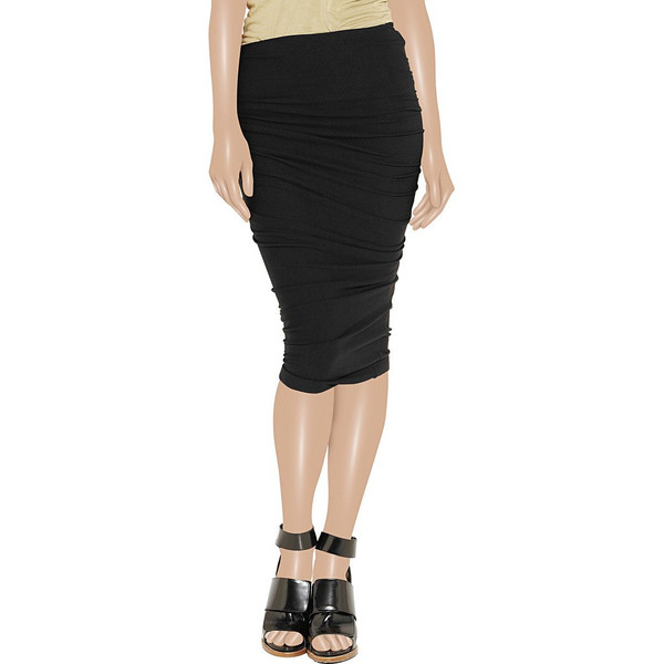 Taupe ruched jersey midi skirt. Over the knee jersey skirt