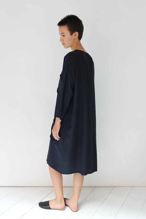 Revisited silk work dress | navy