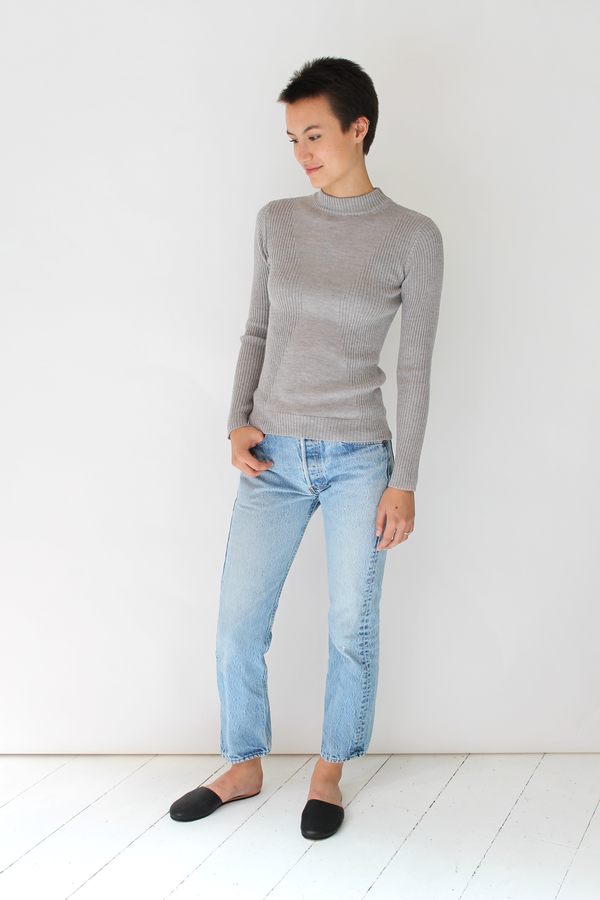 Micaela Greg stagger rib turtleneck | dove grey