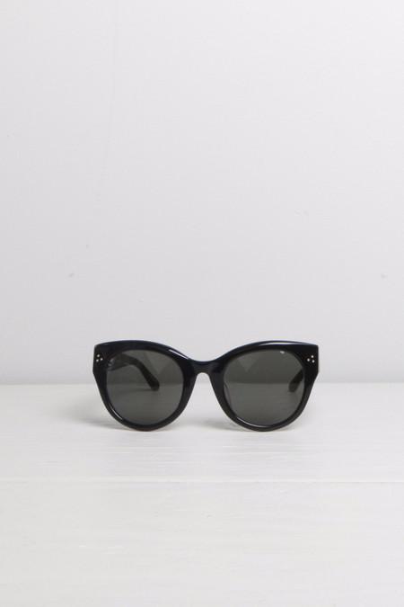 Linda Farrow Thick Rimmed Cat-Eye Black Sunglasses