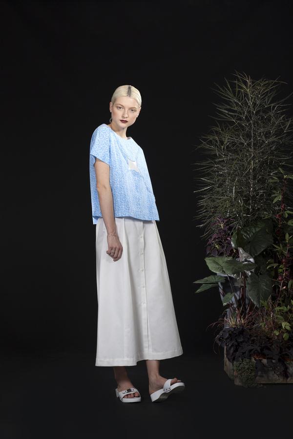Carleen Pleat Front Button Skirt