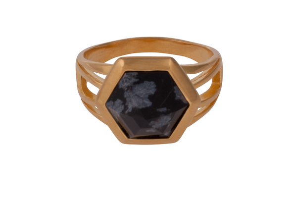 Shahla Karimi Hex Set Ring with Moss Agate