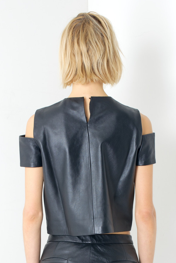 MARKOO Black 'Kasha' Leather Cut-out Top