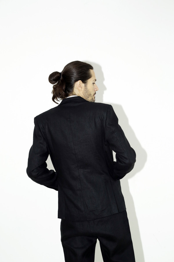 Black Linen Suit Jacket