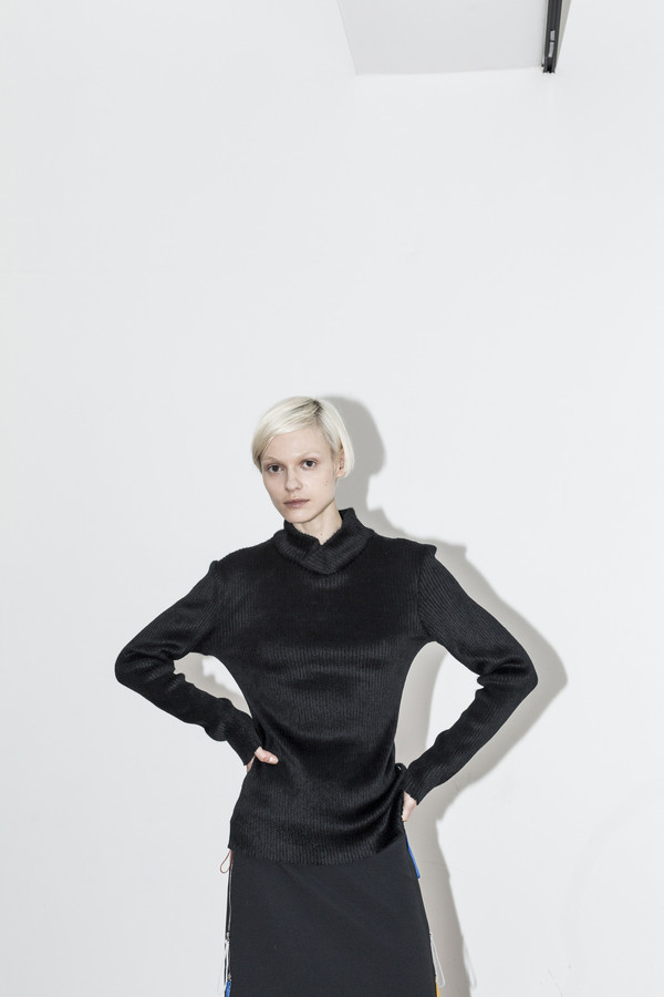 C.F. Goldman Black Knit Turtleneck