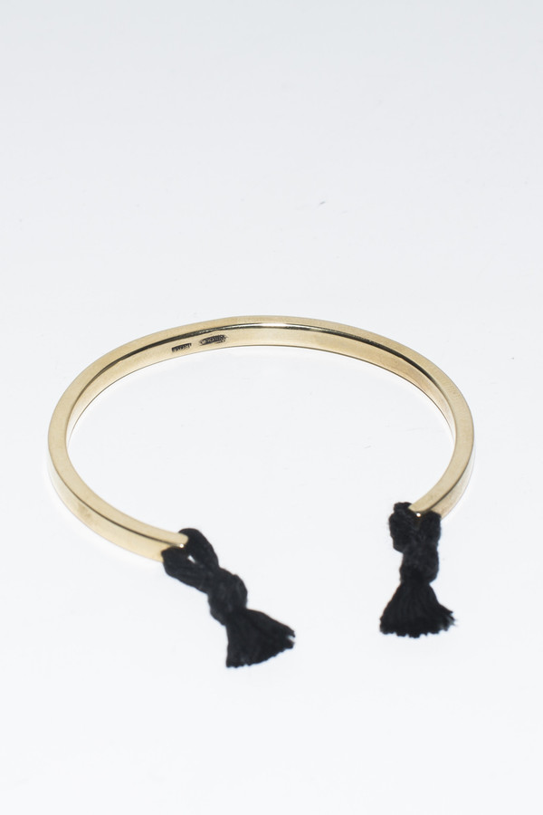 Nikolai Rose Black Knotted Cuff- Gold Tone
