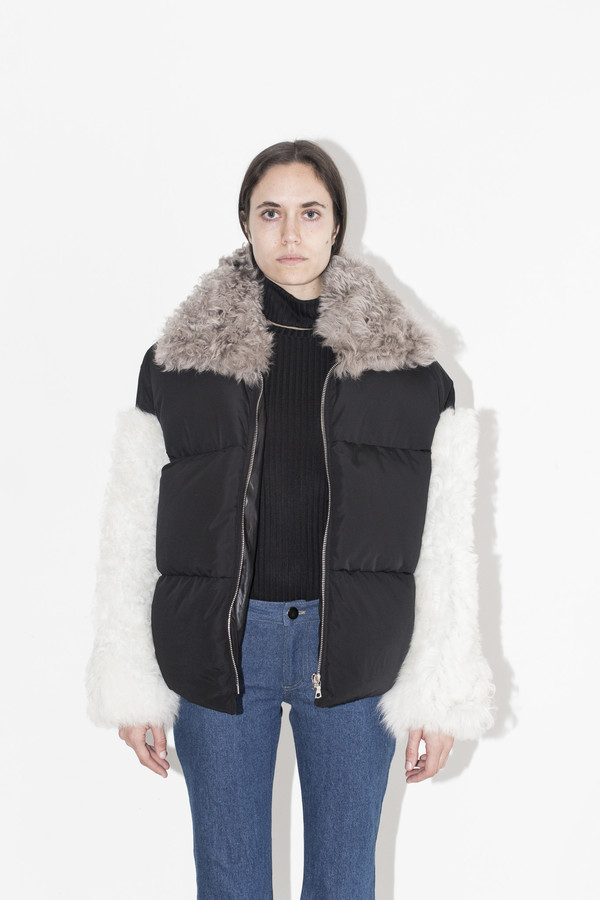 Sandy Liang Black Allen Shearling Coat