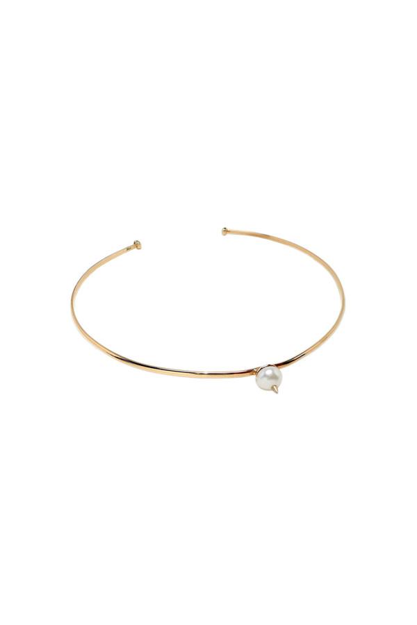 Nektar de Stagni White/Gold Spike Pearl Choker