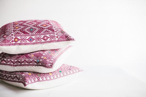 non-perishable goods Fuscia Mexican Woven Pillow