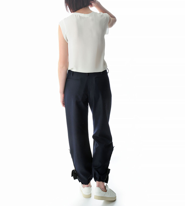 Ports 1961 Navy Wide Trousers with Zip