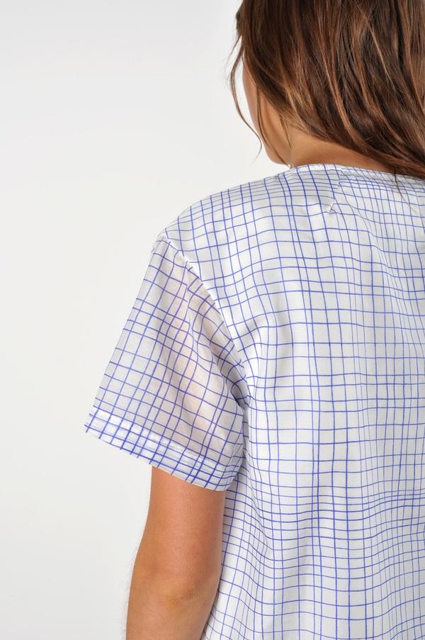 Waltz Drop Shoulder T-shirt | Grid Print