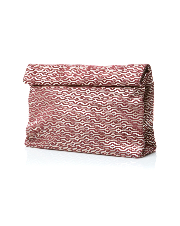Marie Turnor Picnic Clutch in Burgundy Diamond Suede