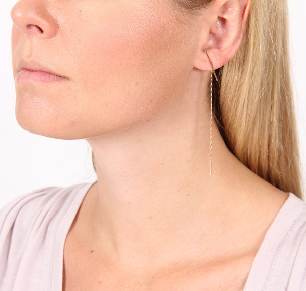 "Kathleen Whitaker 3"" STICK AND ITALIAN CURB CHAIN EARRING"