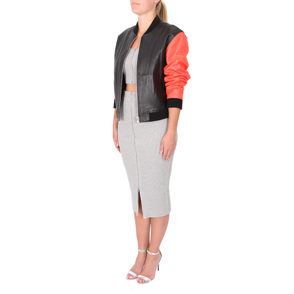 T By Alexander Wang Leather Bomber Jacket