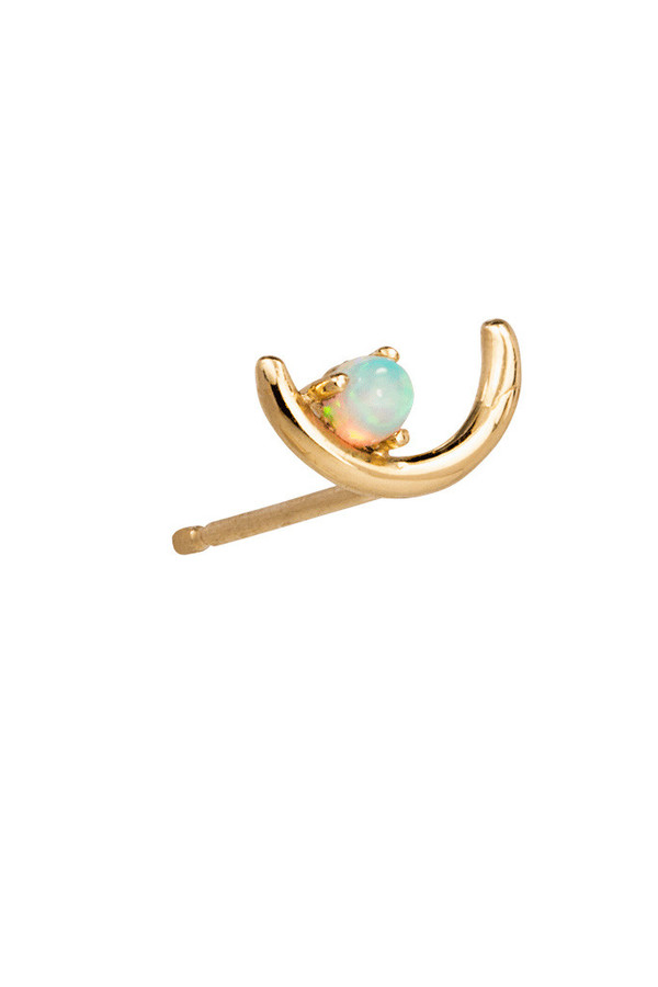 WWAKE Gold Offset Opal Earrings