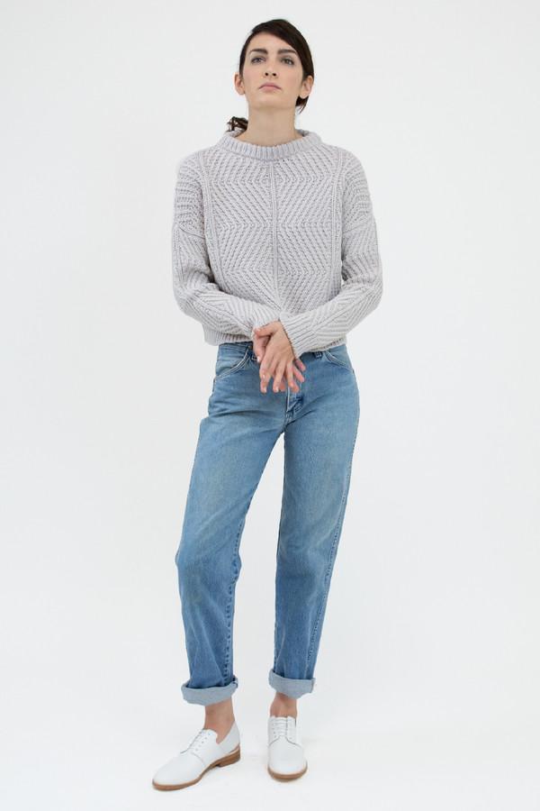 Micaela Greg Pale Silver Bevel Sweater