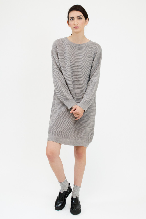 Micaela Greg Dove Grey Ripple Dress