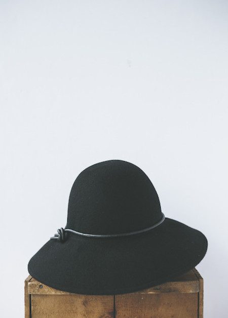 Brookes Boswell Millinery Pippin in Black Wool Felt