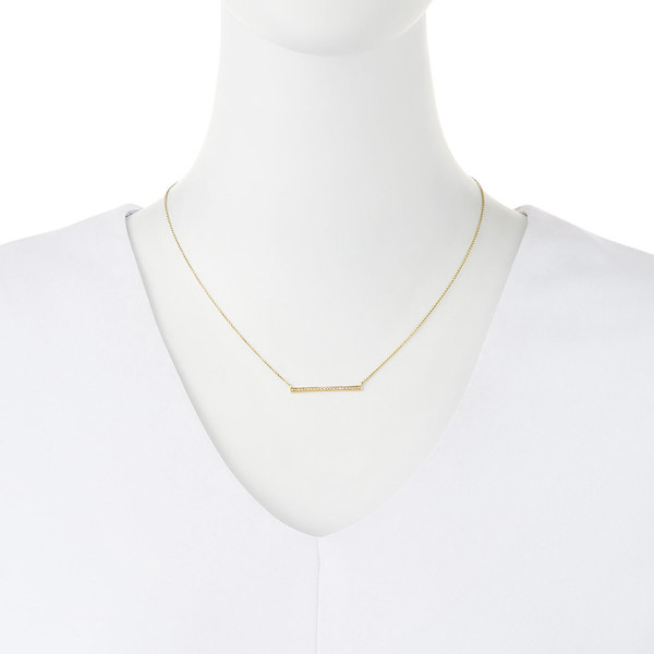 SYDNEY EVAN GOLD + MICROPAVÉ DIAMOND LONG BAR NECKLACE