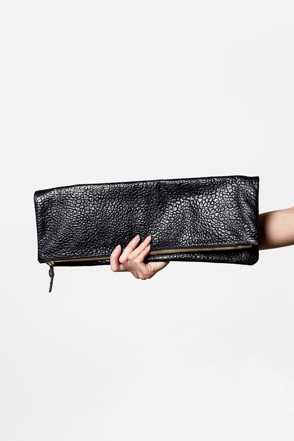 Clare V. Oversized Clutch - black pebble