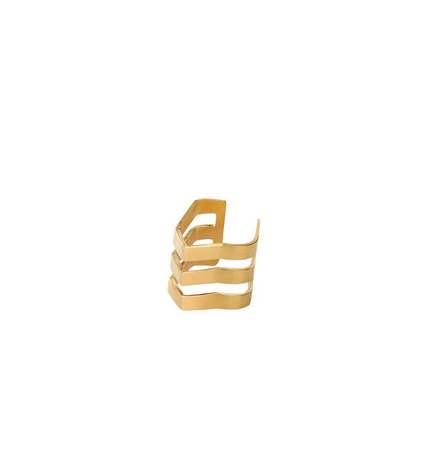Maria Black Matte Gold Trinity Ear Cuff