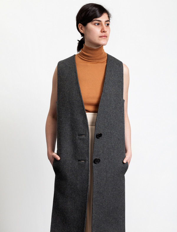 Lemaire Long Vest Wool Graphite