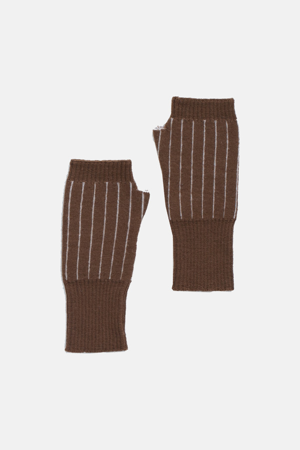 Micaela Greg Burnt sienna Pinstripe Fingerless Gloves