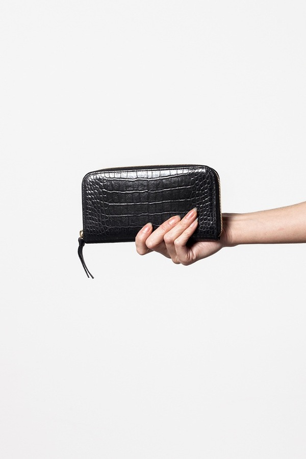 Clare V. Zip Wallet in Black Alligator