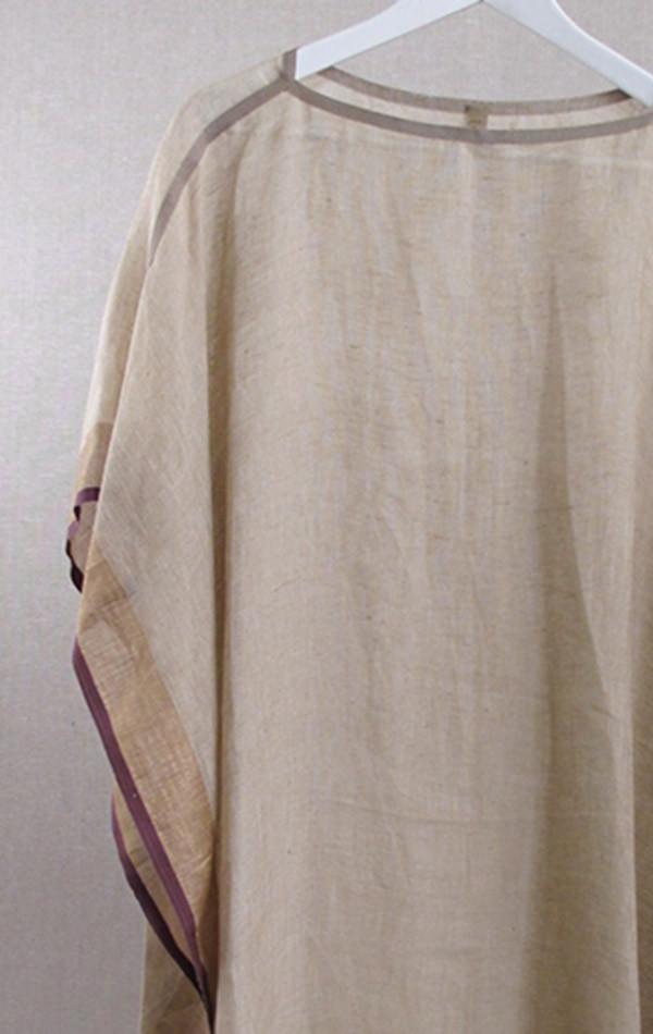 Two Linen Boatneck Caftan with Grosgrain trim neckline