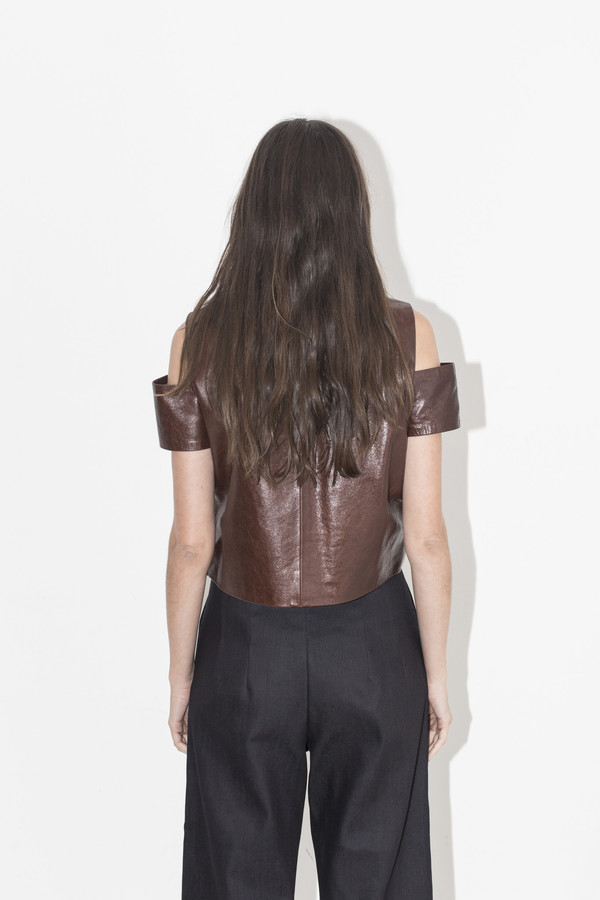 Markoo Brown Kasha Cut Out Top