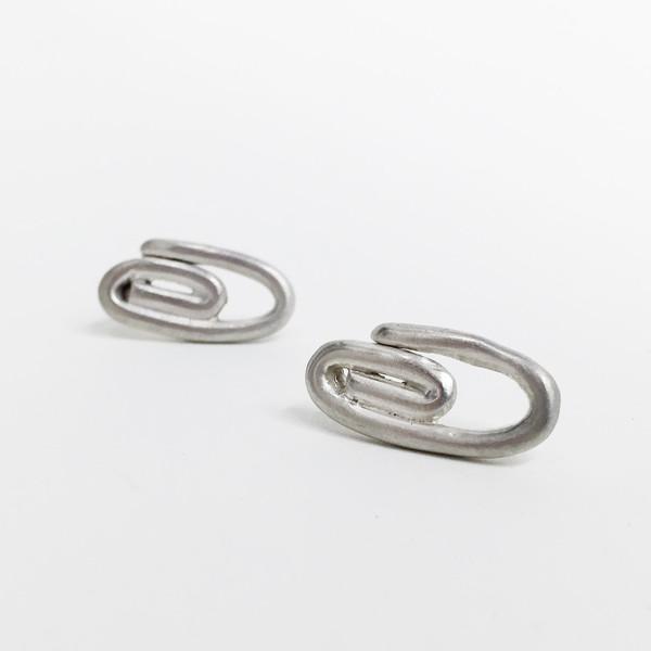 Lane Walkup Silver Paperclip Earrings