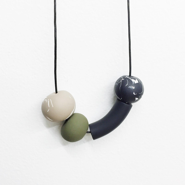 Sea + Pattern - Multi with Green Bead Necklace