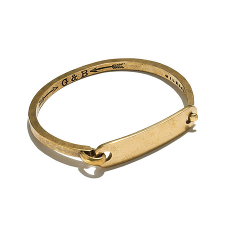 Giles & Brother Brass ID Tag With Hinge Cuff