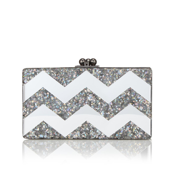 Edie Parker JEAN CHEVRON CLUTCH IN BRILLIANT STAR AND MIRROR