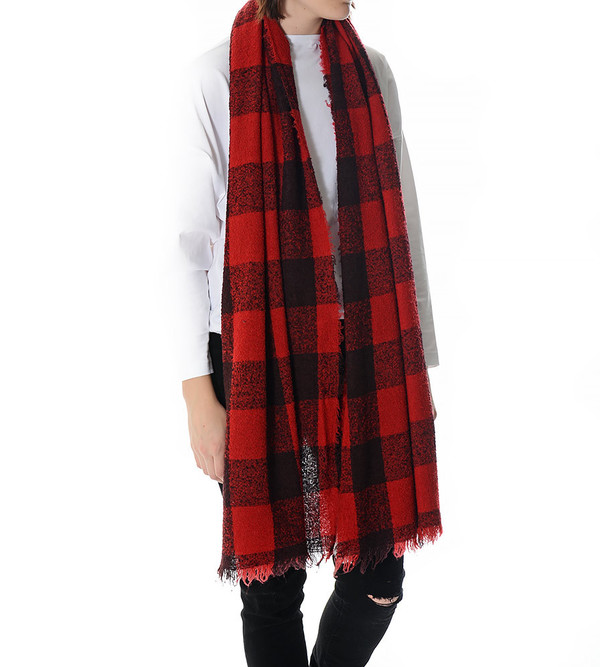 destin Red Plaid Fuffy Stola Scarf