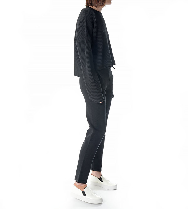 Charlie May Black Wool Track Pant