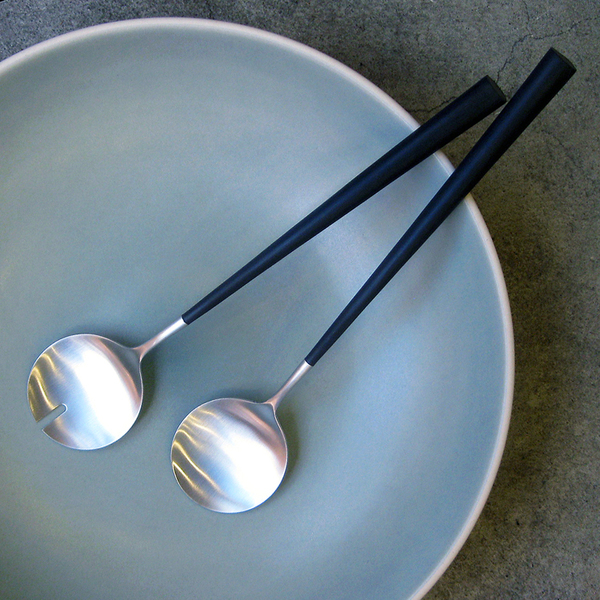 Noor brushed steel salad servers