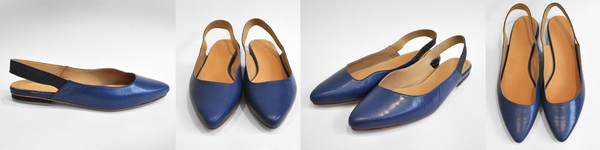 """paro"" pointed slingback - bright blue/blue grid"