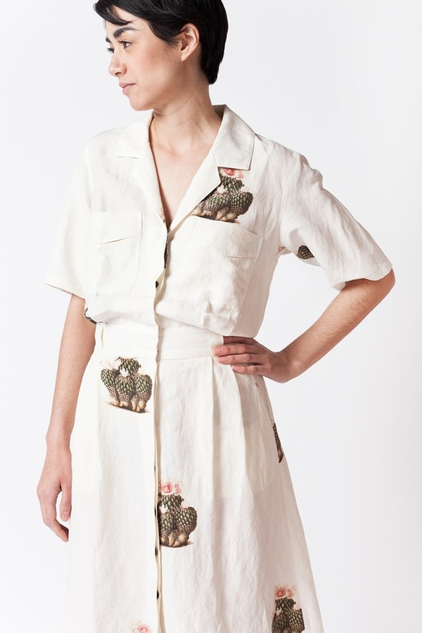 Creatures of Comfort Mischa Dress - white cactus