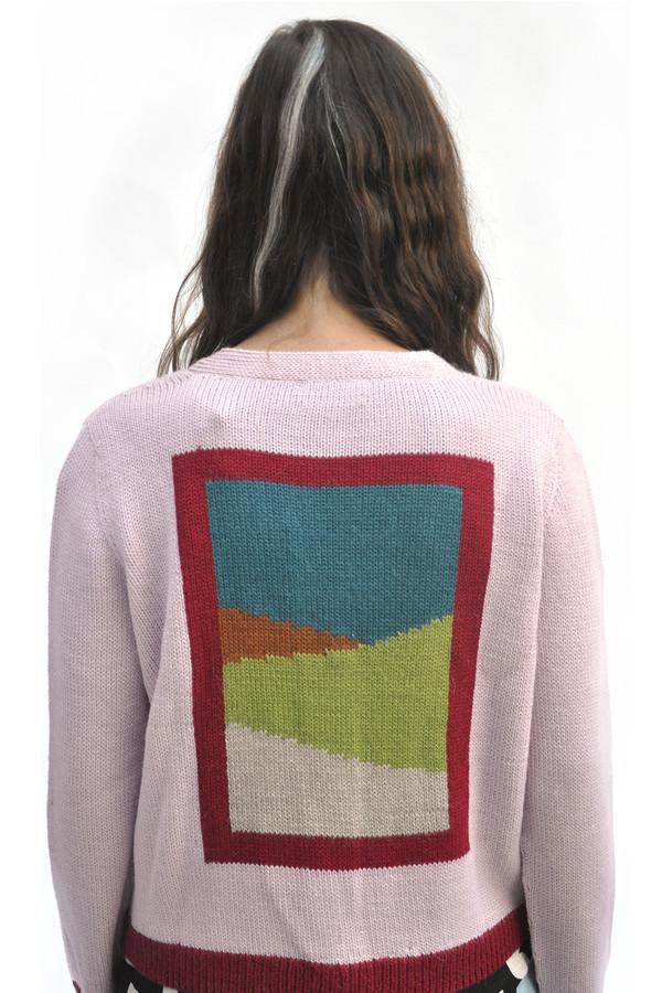Dusen Dusen Pink Combo Frame Cardigan Sweater