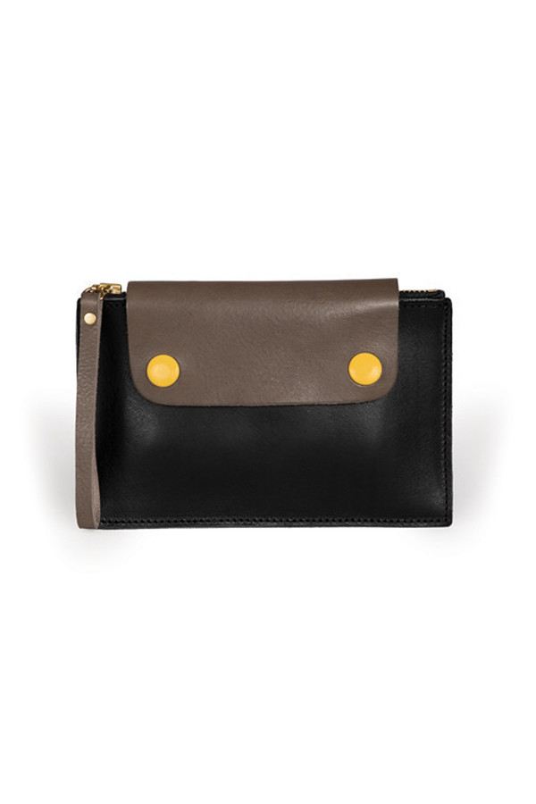 Sylvan Park Leather Bidwell Mini Zip Pouch - Black/Clay/Yellow